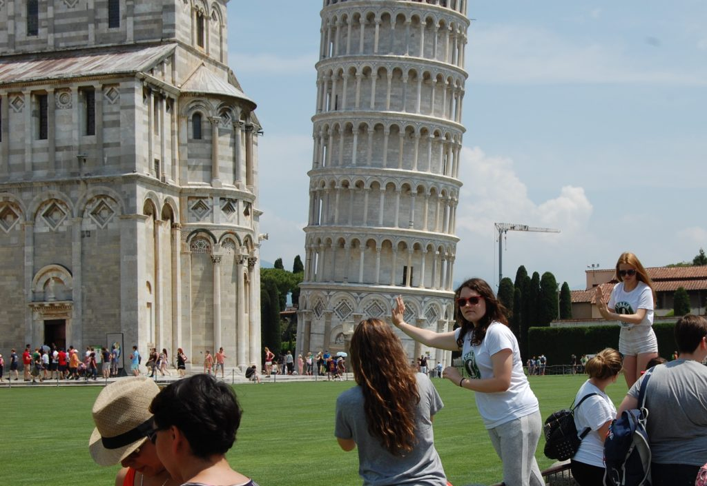 Climb to the top of the tower of pisa