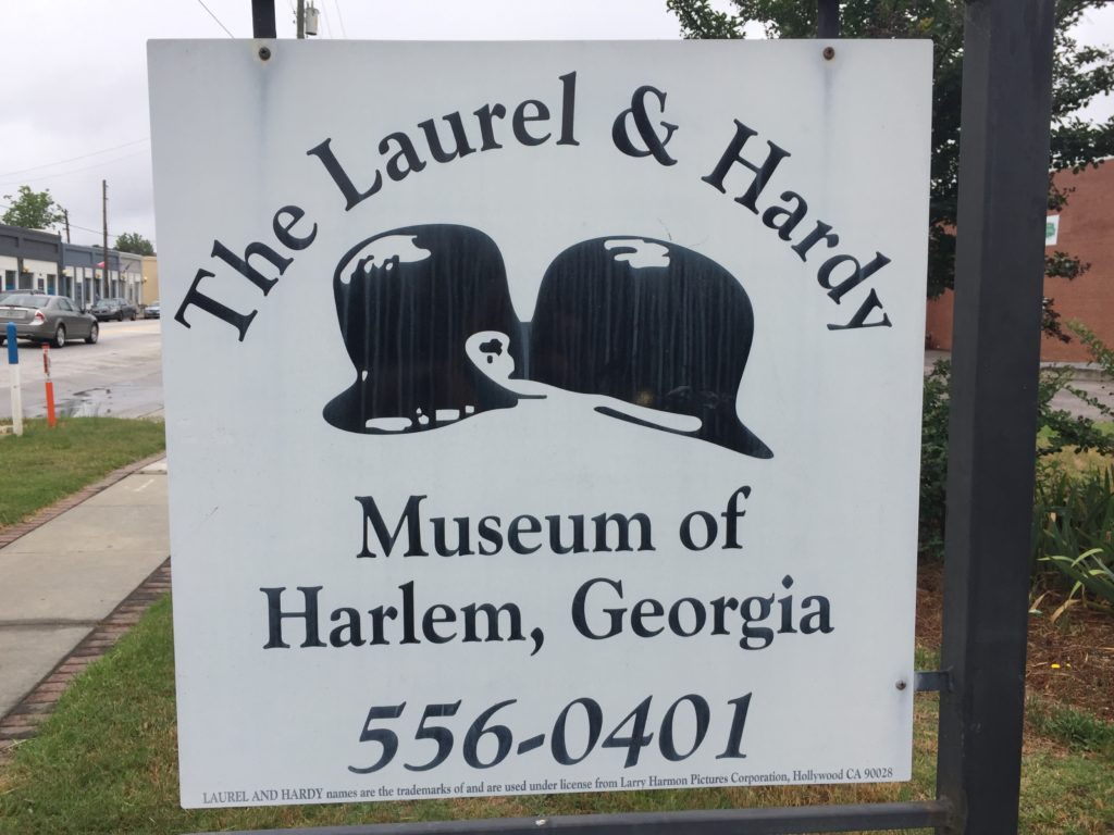 Sign for Laurel & Hardy museum